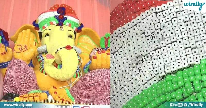 Ganesh idol made up of Dice, chess and coins in Hyderabad