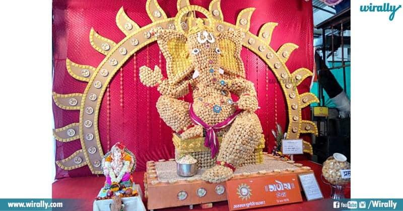 Statue of Lord Ganesha using 10,000 pani puri in mumbai