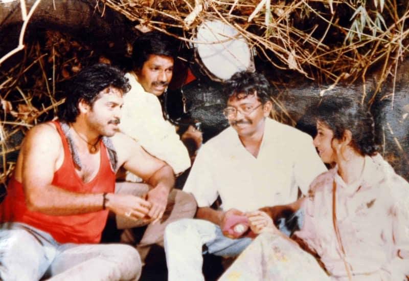 Rare Pic Of Venky, Rgv And Sridevi On Kshna Kshanam Movie Locations
