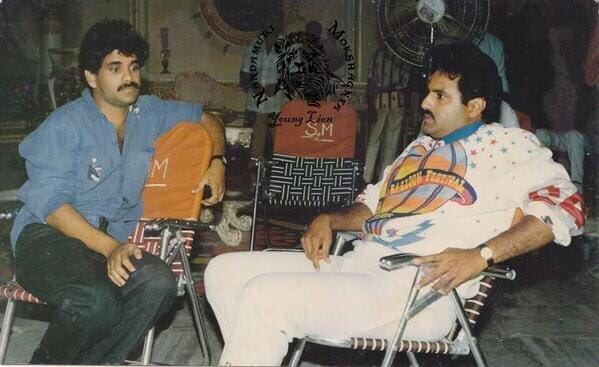 Rare Pic Of Nagarjuna And Balayya On Aditya 369 Movie Sets