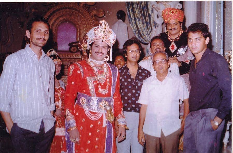 Balakrishna With Subhalekha Sudhakar And Others On Aditya 369 Movie Sets
