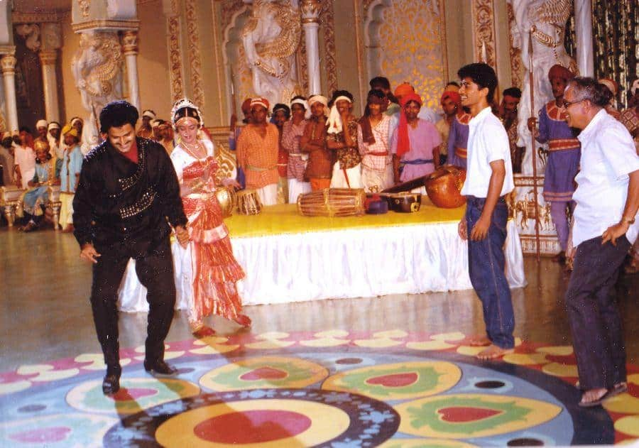 Rare Working Still Of Singeetham Srinivas Rao And Balakrishna On Aditya 369 Movie Sets