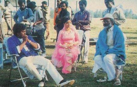 Chiranjeevi And Sridevi With K. Raghaveder Rao On Jagadeka Veerudu Athiloka Sundari Movie Sets
