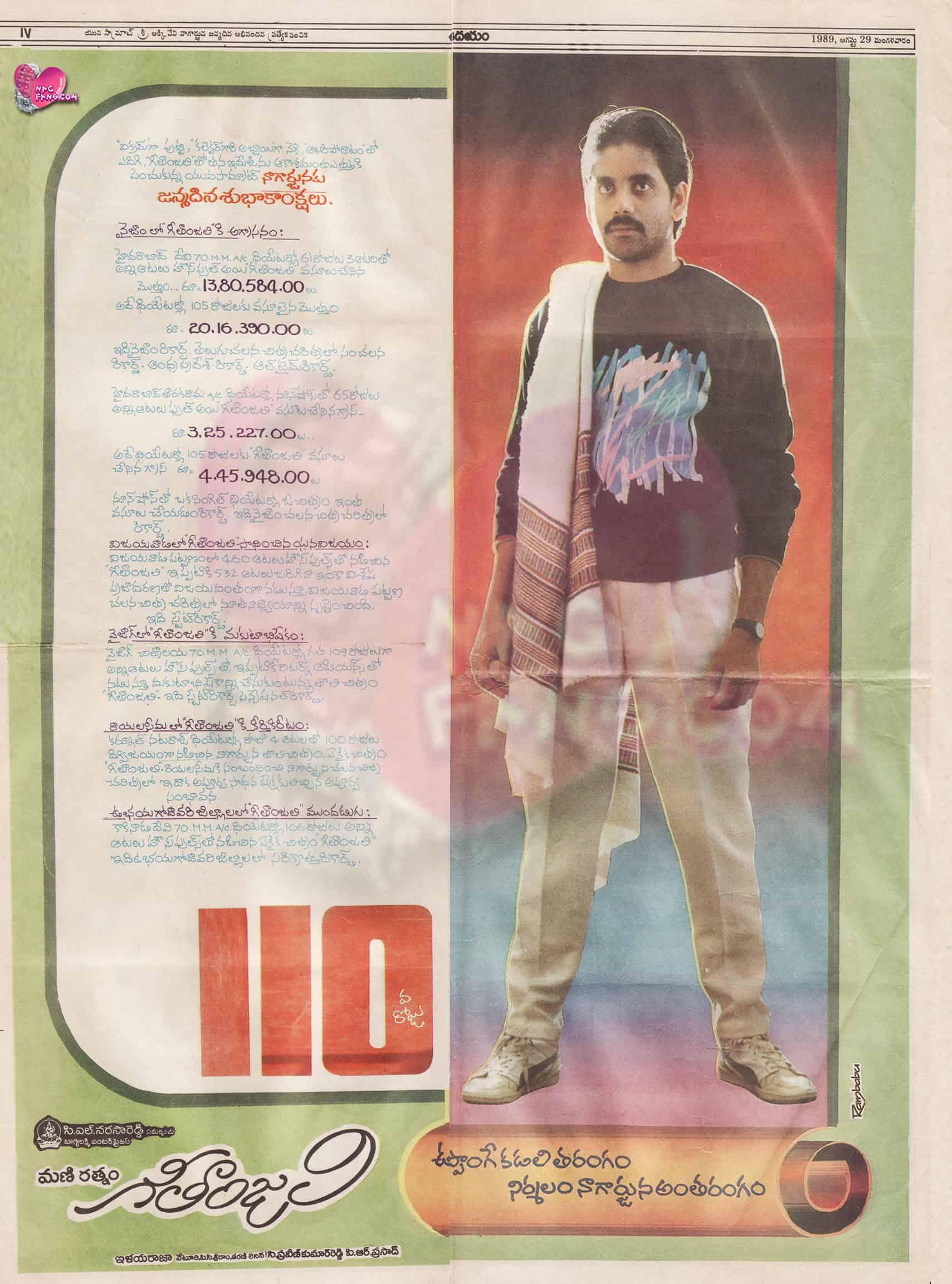 Geethanjali Movie 100 Days Paper Cutting