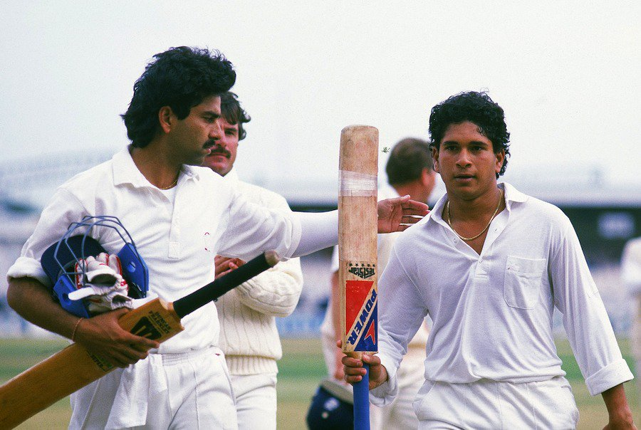 18. Sachin Tendulkar's Rare Pic When He Done His First International Ton !