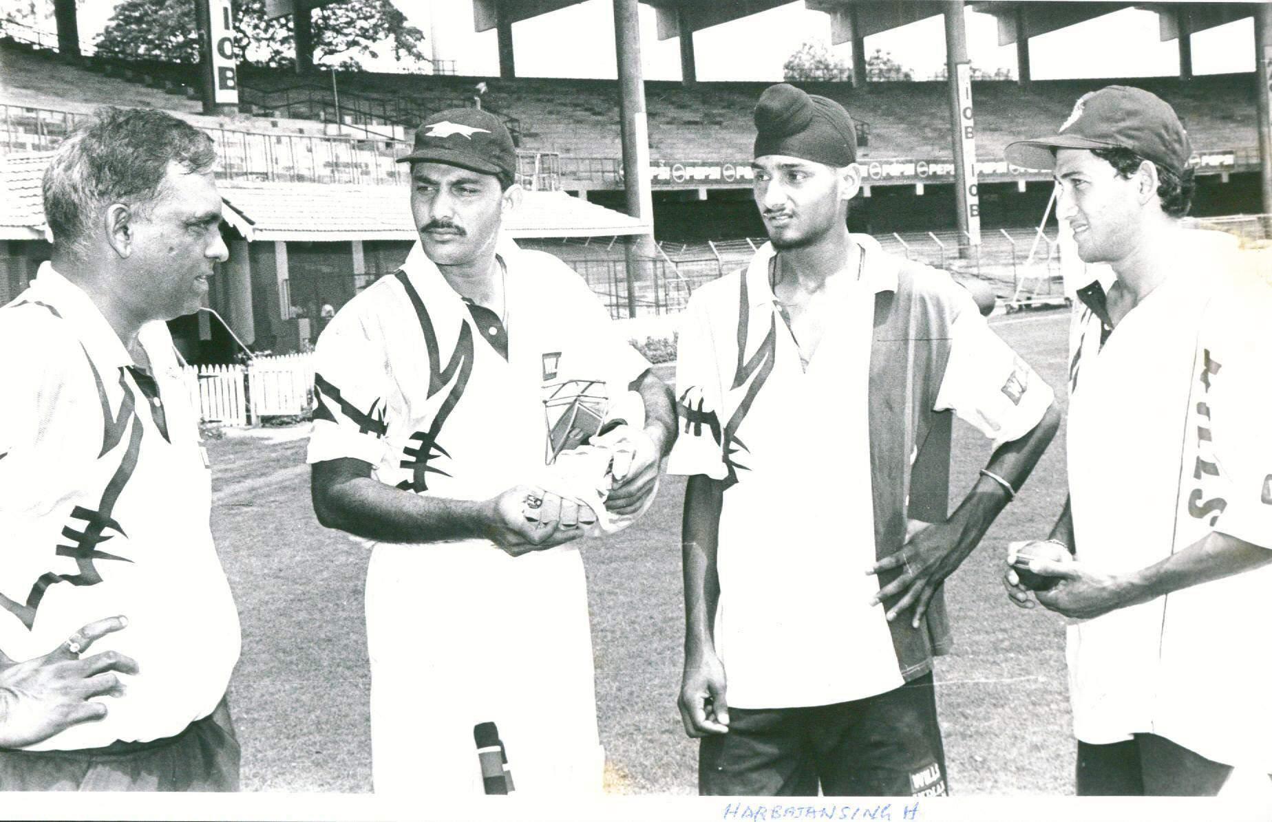 20. A Rare Pic Of Harbhajan Singh With Azharuddin And Ajit Agarkar