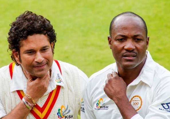 23. Rare Still Of Sachin Tendulkar With Brian Lara