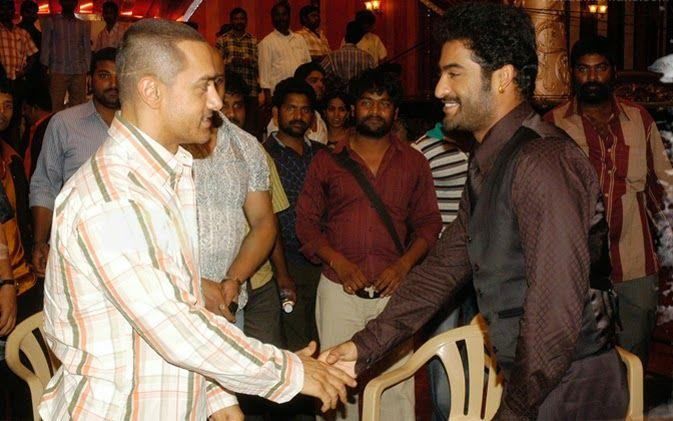 30. Jr. Ntr Rare Pic With Bollywood Hero Aamir Khan