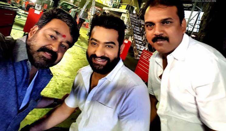 58. Jr Ntr Rare Selfie With Mohanlal And Koratala