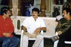 4. Chiru Balayya & Aswini Dutt Rare Pic From Indra Movie Sets