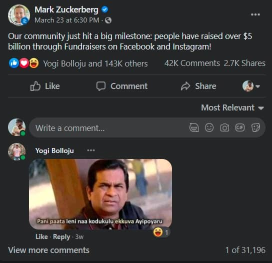 1.Comments on mark zuckerberg fb account