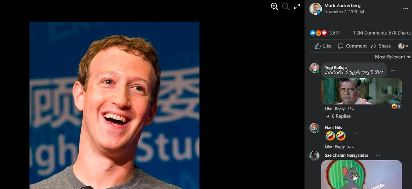 6.Comments on mark zuckerberg fb account