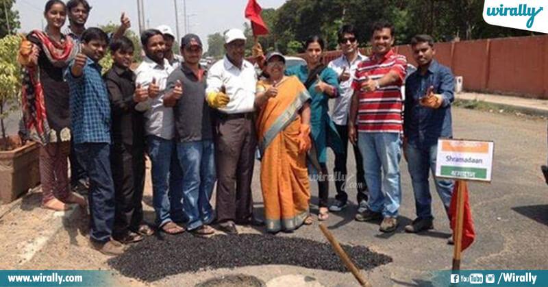 Mr & Mrs Gangadhar Tilak fixing potholes